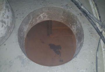 פתח ברצפת בטון לאחר קידוח